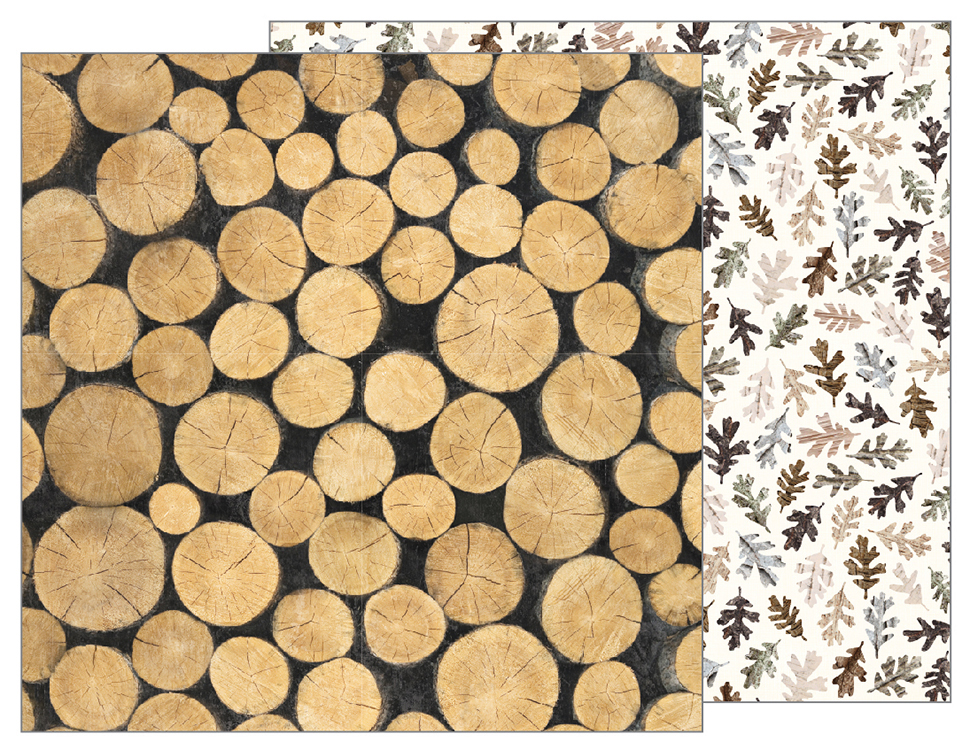 דף קארדסטוק - Warm and Cozy - Logs