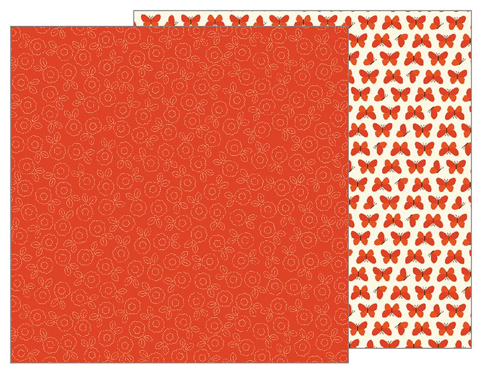 דף קארדסטוק - Woodland Forest - Stitched Floral