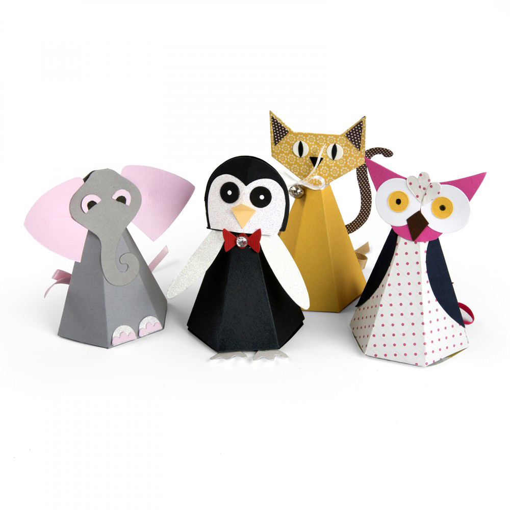 תבנית חיתוך - Bigz Pro Die- Box, Cat Elephant Owl and Penguin