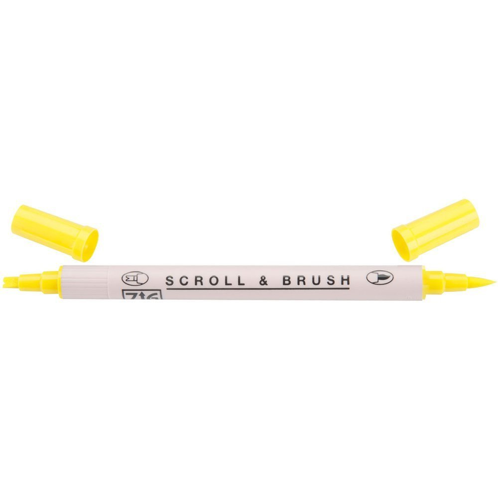 Zig Scroll & Brush Marker - Pure Yellow 050