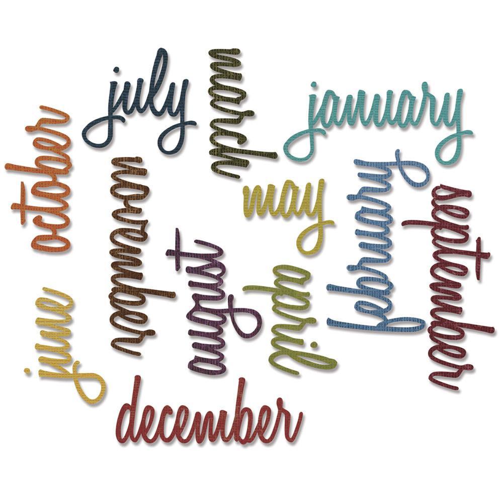 סט תבניות חיתוך- Thinlits Die Set - Script Calendar Words