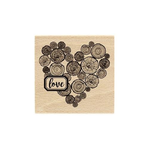 חותמת עץ - Coeur en Rondins