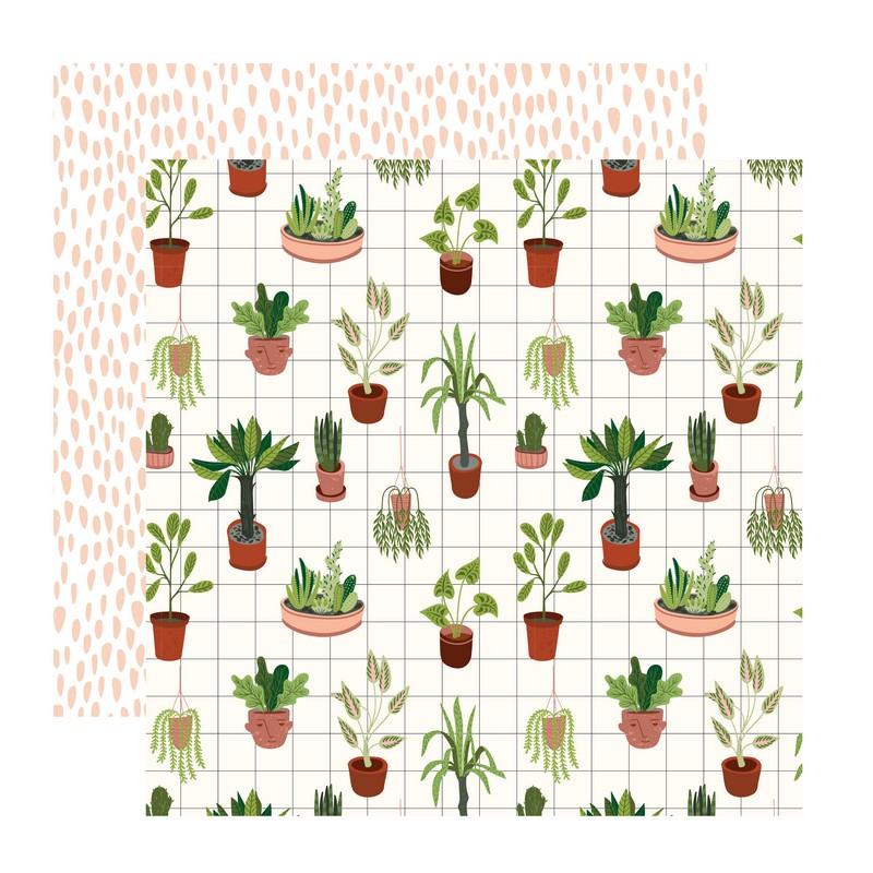 דף קארדסטוק- Urban Jungle- עציצים וכתמים