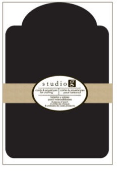 מארז כרטיסים ומעטפות - תגית מעוגלת צבע שחור