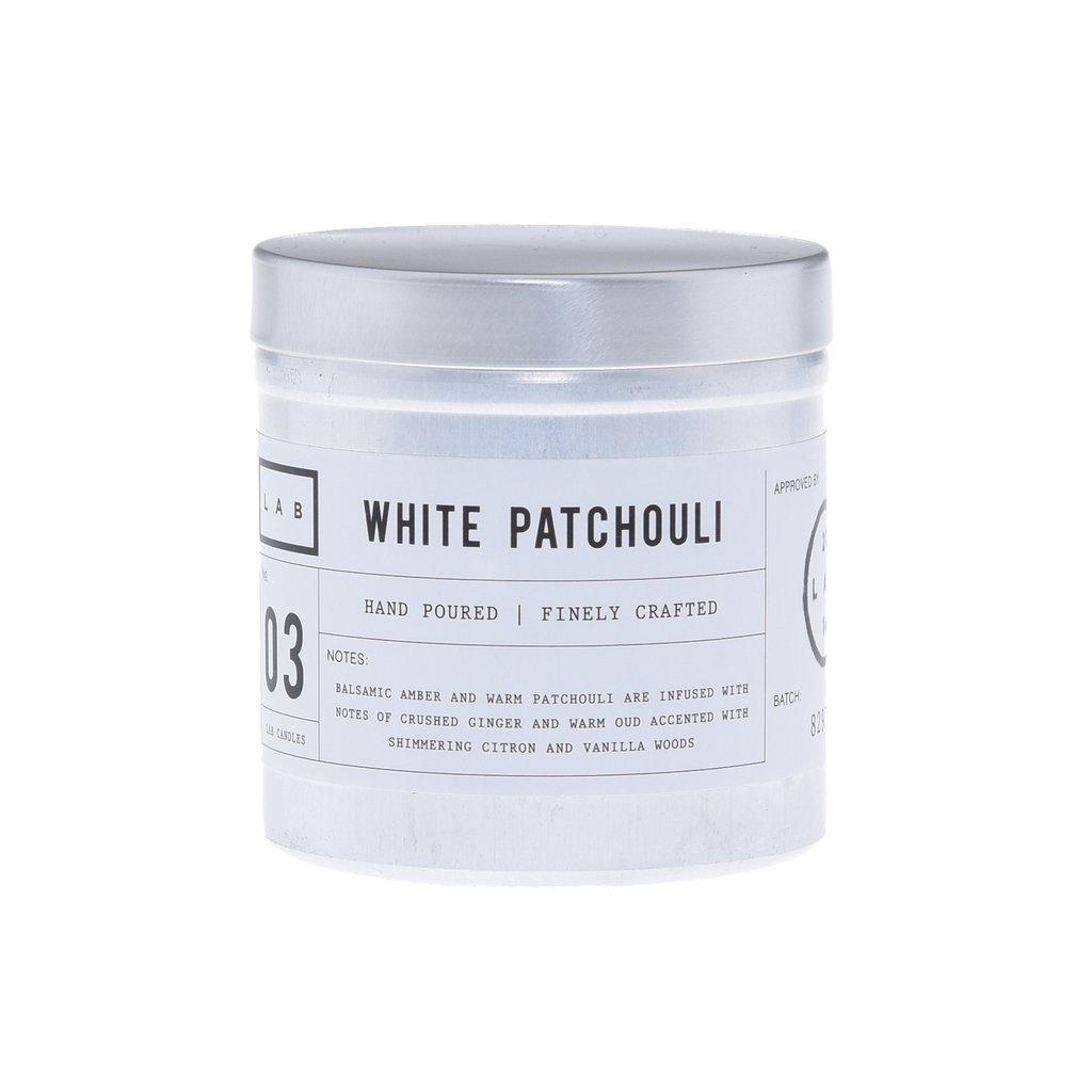 נר בכלי אלומיניום כסוף - White Patchouli