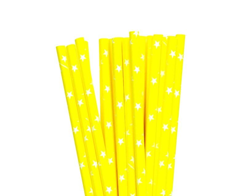 קשיות נייר - צהוב עם כוכבים לבנים
