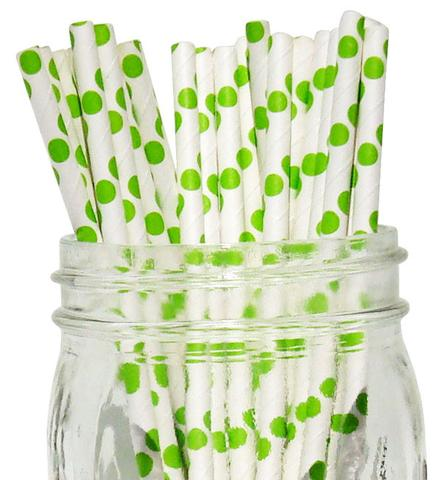 קשיות נייר - לבן עם נקודות ירוקות גדולות
